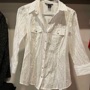 White House black market linen blouse top shirt